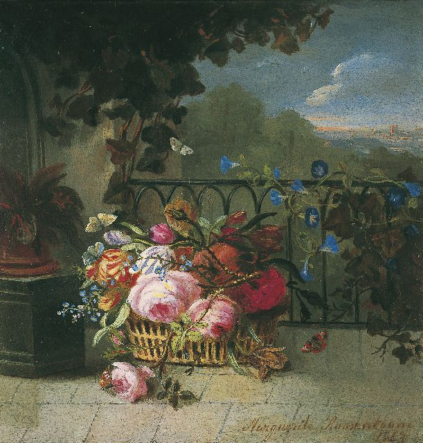 Margaretha Roosenboom | Flowers in a basket, Öl auf Tafel, 15,0 x 14,3 cm, signed l.r. und dated 1863