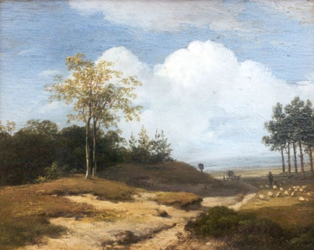 Andreas Schelfhout | A summer landscape with a shepherd and his flock, Öl auf Tafel, 12,8 x 16,0 cm, signed l.l.