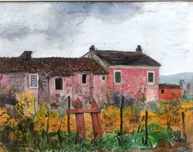 Harm Kamerlingh Onnes | A farm in a landscape, France, Öl auf Leinwand, 40,5 x 50,8 cm, signed l.r. with monogram und dated '57