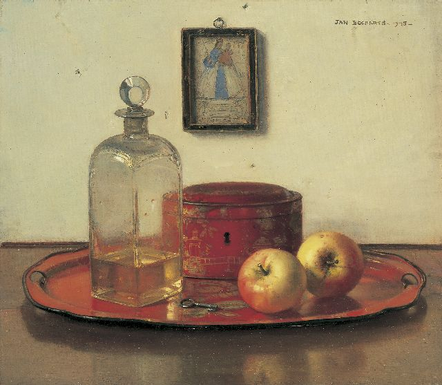 Jan Bogaerts | A still life with apples, Öl auf Leinwand, 40,2 x 45,5 cm, signed u.r. und dated 1945