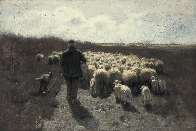 Mauve A.  | A shepherd with his flock, Öl auf Leinwand 65,0 x 96,5 cm, signed l.r.
