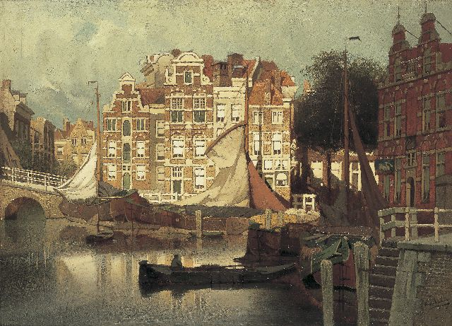 Johannes Christiaan Karel Klinkenberg | A view of the Blaak and the Leuvehaven in Rotterdam, Öl auf Tafel, 32,7 x 45,0 cm, signed l.r.