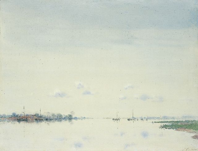 Jan Voerman sr. | The river Ijssel, Öl auf Tafel, 40,1 x 52,2 cm, signed l.r.