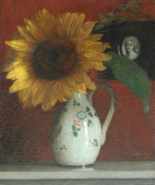 Jan Bogaerts | A sunflower in a decorated vase, Öl auf Leinwand, 47,0 x 38,0 cm, signed l.r.