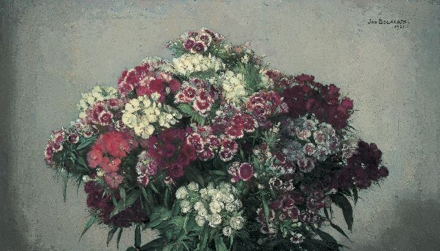 Jan Bogaerts | A bouquet of sweet William, Öl auf Leinwand, 32,5 x 55,4 cm, signed u.r. und dated 1921