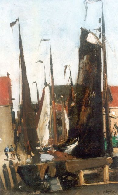 Floris Arntzenius | Sailing vessels in the harbour, Scheveningen, Öl auf Tafel, 34,5 x 22,0 cm, signed l.r.