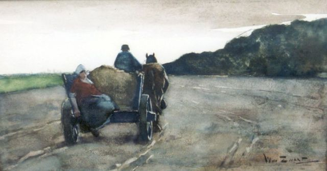 Willem de Zwart | Homeward bound, Holzkohle und Aquarell auf Papier, 20,5 x 39,5 cm, signed l.r.