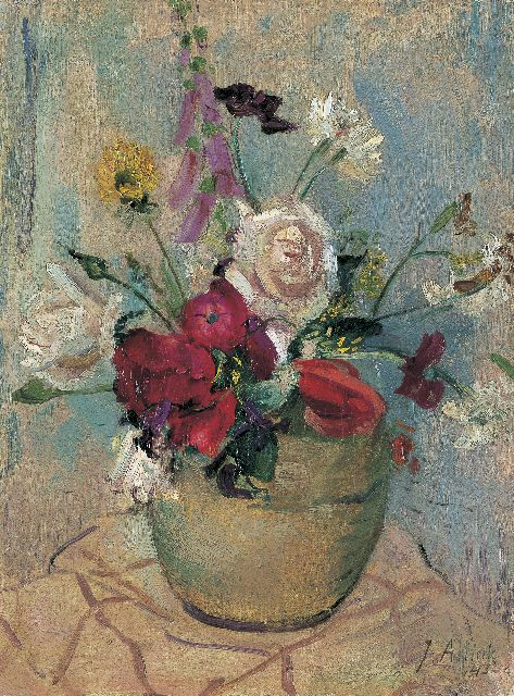 Jan Altink | A colourful bouquet in a vase, Öl auf Leinwand, 40,8 x 30,5 cm, signed l.r. und datiert '43
