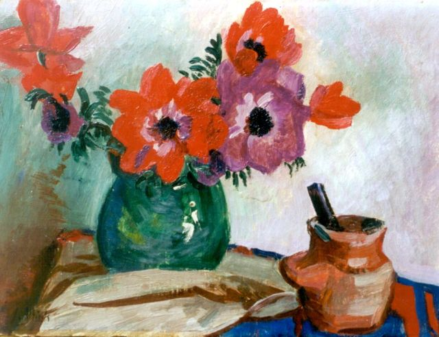 Jan Altink | A still life with anemones, Öl auf Leinwand, 30,3 x 40,0 cm, signed l.l.