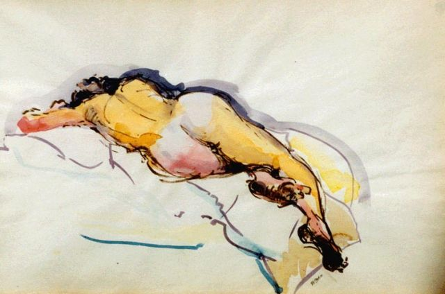 George Martens | A reclining nude, Aquarell auf Papier, 32,5 x 49,0 cm, signed l.r.