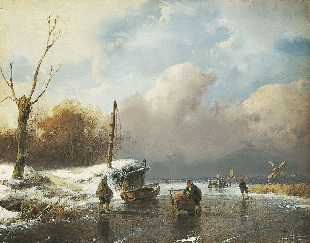 Andreas Schelfhout | Skaters on a frozen river, Öl auf Tafel, 14,6 x 18,8 cm, signed l.l.
