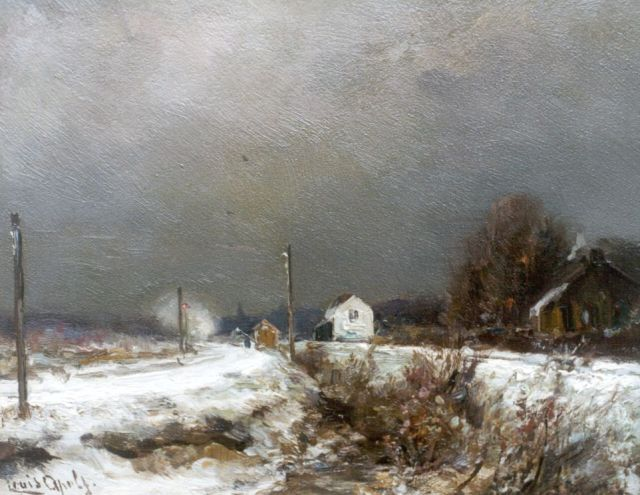 Louis Apol | A snow-covered landscape with approching stream train, Öl auf Tafel, 17,6 x 22,0 cm, signed l.l.