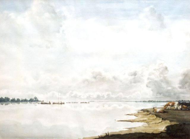 Jan Voerman sr. | A view of the river IJssel, Aquarell auf Papier, 59,0 x 80,0 cm, signed l.r. with initials
