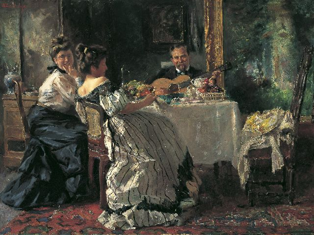 Albert Roelofs | Musical performance, Öl auf Leinwand, 62,7 x 83,5 cm, signed u.l. und painted circa 1906