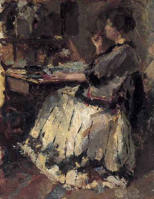 Albert Roelofs | The writing-table, Öl auf Malereifaser, 17,8 x 13,9 cm, painted in 1914