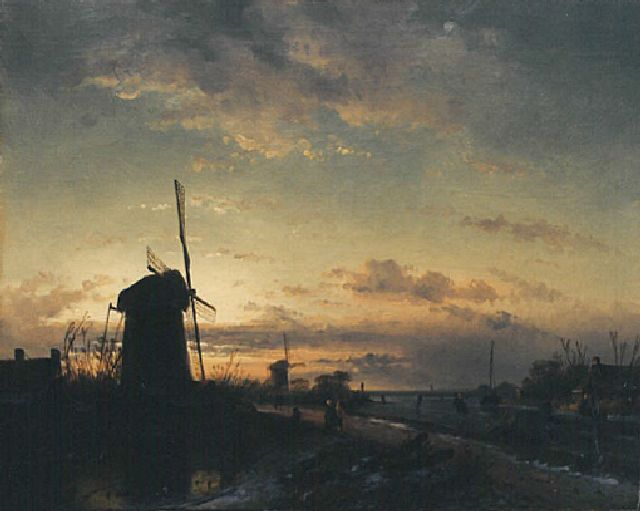 Charles Leickert | A winter landscape at sunset, Öl auf Leinwand, 43,5 x 57,6 cm, signed traces l.l.