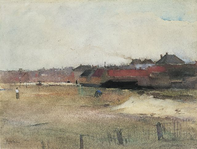 Floris Arntzenius | A view of a village, seen from the beach, Aquarell auf Papier, 29,8 x 39,4 cm, signed l.l. und datiert '90/'95