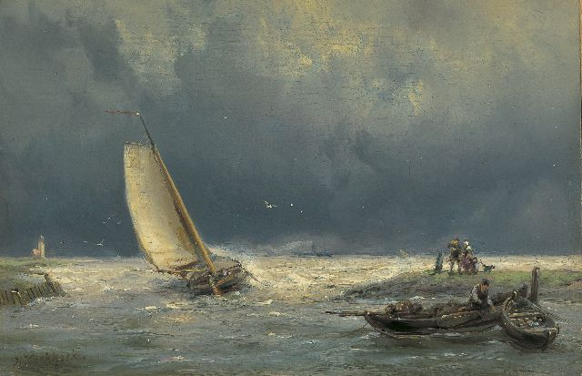 Hermanus Koekkoek | A vessel in stormy waters, Öl auf Tafel, 13,8 x 21,0 cm, signed l.l.