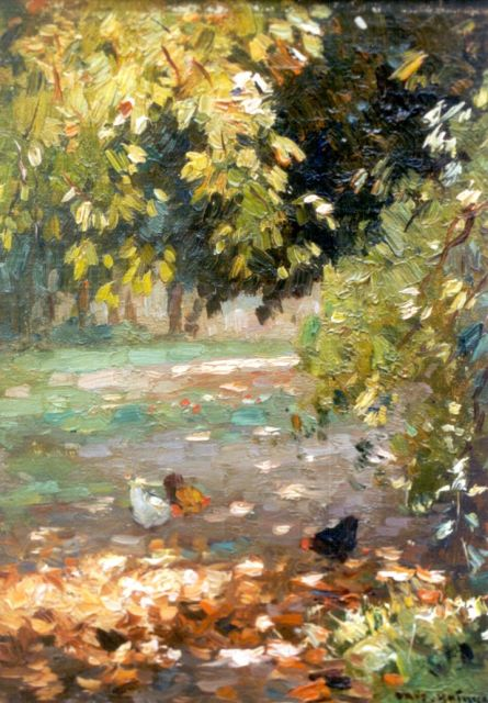 Knikker A.  | Chickens in a forest lanscape, Öl auf Leinwand Malereifaser, 23,9 x 18,0 cm, signed l.r.