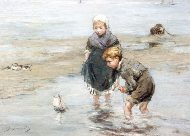 Bernard Blommers | Children playing on the beach, Öl auf Tafel, 19,5 x 26,9 cm, signed l.l.