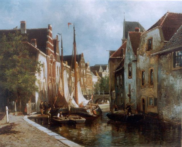 Eickelberg W.H.  | A view of a canal with moored boats, Öl auf Leinwand 31,4 x 36,1 cm, signed l.r.