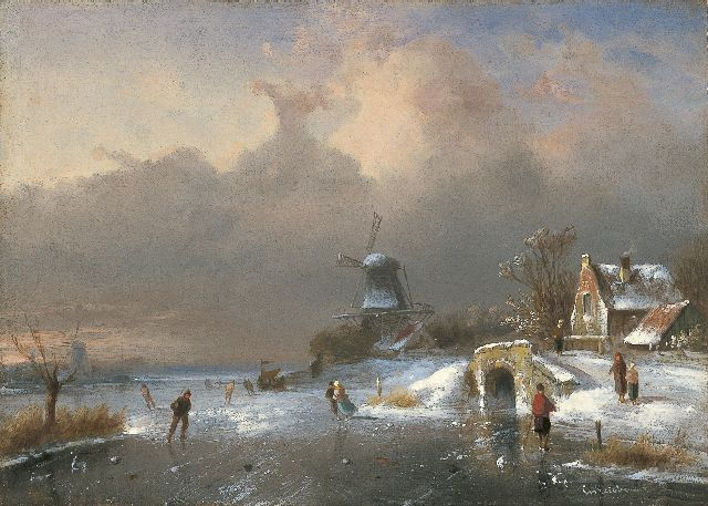 Charles Leickert | A winter landscape with skaters, Öl auf Tafel, 23,7 x 33,1 cm, signed l.r.