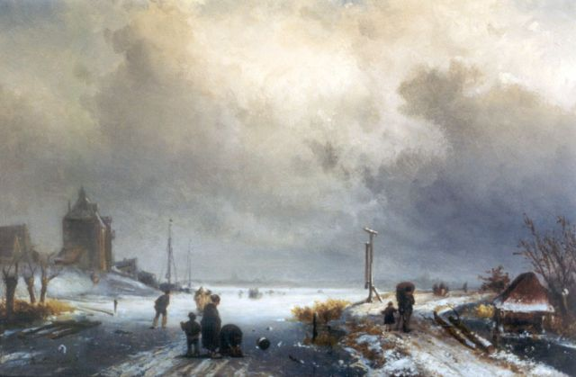 Charles Leickert | Winter landscape (added staffage by J.H.B. Koekkoek), Öl auf Tafel, 31,2 x 45,6 cm, signed l.l.