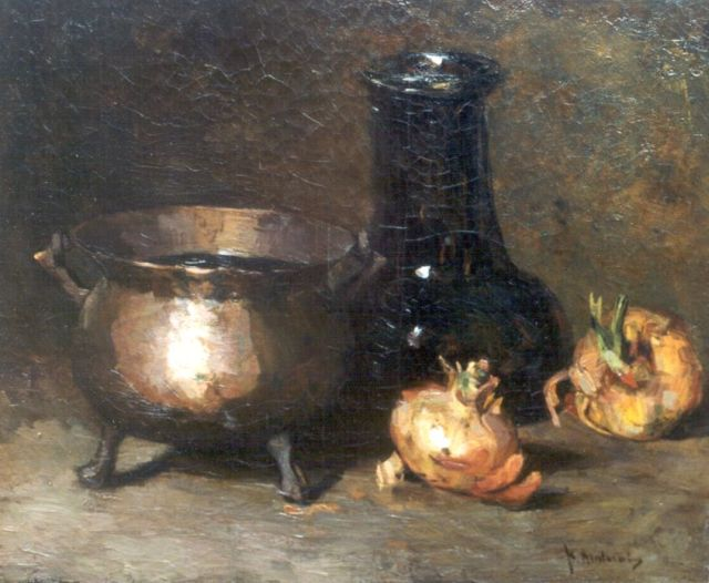Floris Arntzenius | A still life with onions and a copper bowl, Öl auf Leinwand, 38,5 x 46,3 cm, signed l.r.