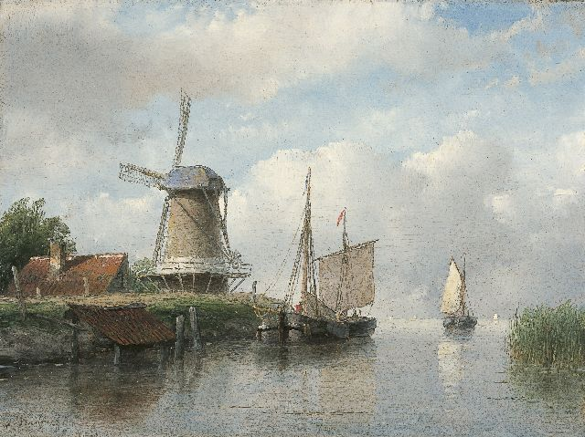 Andreas Schelfhout | Moored sailing vessels by a windmill, Öl auf Tafel, 16,8 x 22,4 cm, signed l.l. und painted between 1843-1858