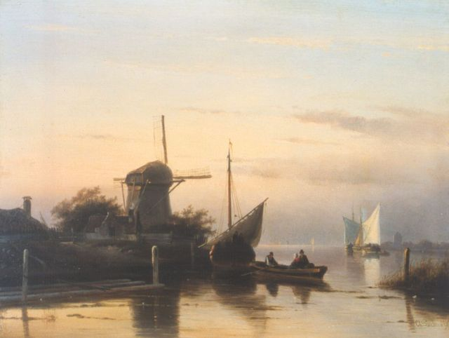 Charles Leickert | A barge departing, Öl auf Tafel, 24,8 x 32,7 cm, signed l.r.