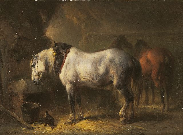 Wouterus Verschuur | In the stable, Öl auf Tafel, 13,9 x 18,5 cm, signed l.l. and on label (reverse)