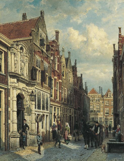 Springer C.  | View of the Vriesestraat, with the Gemeenteschool, Dordrecht, Öl auf Tafel, 52,1 x 40,4 cm, signed l.r. und dated 1885 on the reverse