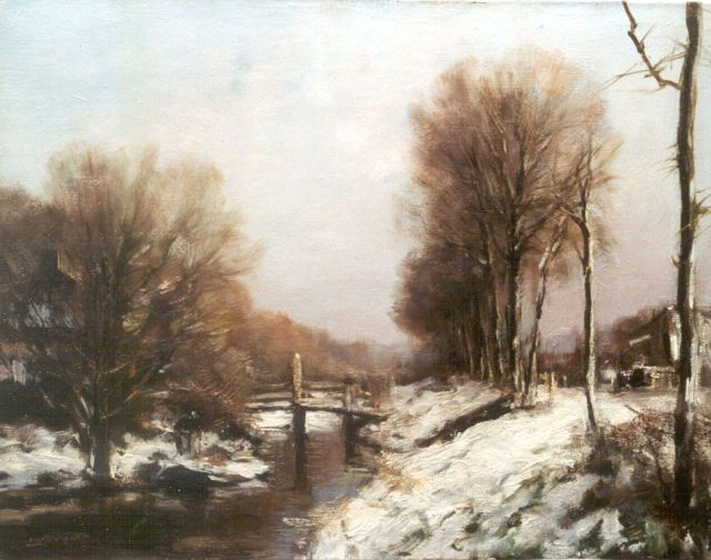 Louis Apol | A view of a draw-bridge in winter, Öl auf Leinwand, 39,1 x 50,0 cm, signed l.l.