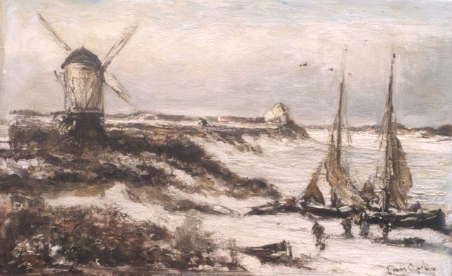 Louis Apol | A winter landscape with moored sailing vessels, Öl auf Leinwand, 31,8 x 50,0 cm, signed l.r.