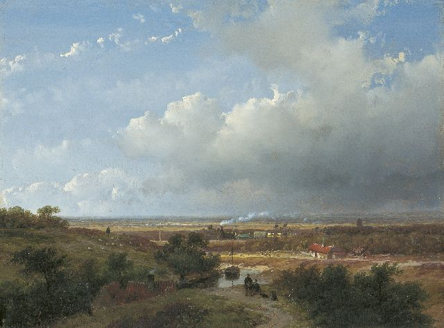 Andreas Schelfhout | The first Dutch steam train between Haarlem and Leiden, Öl auf Tafel, 25,0 x 33,2 cm, signed l.l. und dated '53