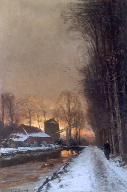 Louis Apol | A winter landscape with a  traveller on a path at dusk, Öl auf Leinwand, 60,1 x 40,2 cm, signed l.l.