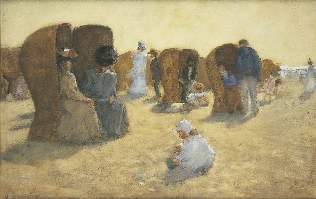 Floris Arntzenius | Elegant bathers on the beach of Scheveningen, Aquarell auf Papier, 34,7 x 53,9 cm, signed l.l. und zu datieren 1904-1906