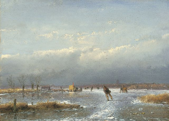 Andreas Schelfhout | A winter landscape with skaters and a 'koek-en-zopie' on the ice, Öl auf Tafel, 17,3 x 24,1 cm, signed l.l. und painted between 1866-1868
