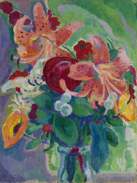 Leo Gestel | Flower still life with tiger lilies, Öl auf Leinwand, 33,3 x 25,3 cm, signed l.l. und painted ca. 1912-1913