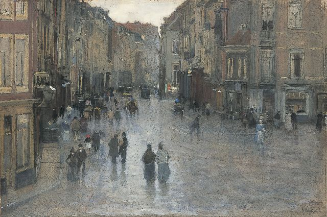 Floris Arntzenius | A view of the Wagenstraat, The Hague, Aquarell und Gouache auf Papier, 40,4 x 60,1 cm, signed l.r.