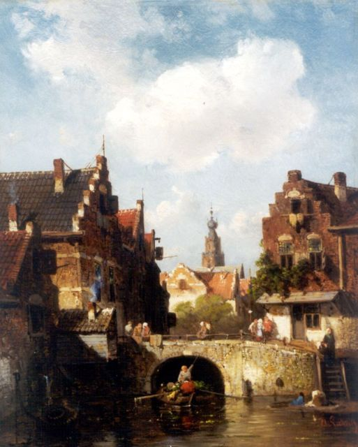 Charles Leickert | View of a canal, with a church beyond, Öl auf Tafel, 28,0 x 21,7 cm, signed l.r.