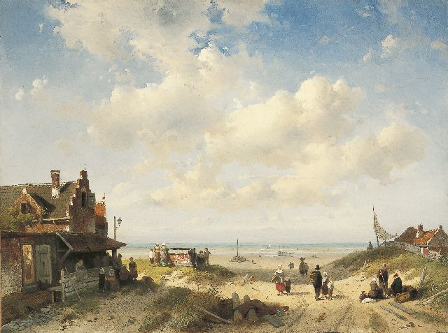 Charles Leickert | Fisherfolk from Scheveningen, Öl auf Leinwand, 45,8 x 61,4 cm, signed l.r. und indistinctly dated (?)9