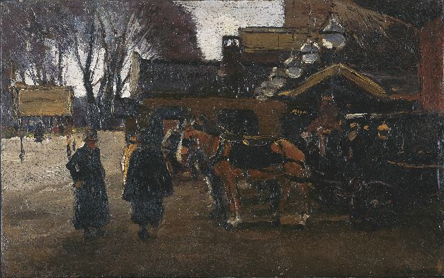 Willem de Zwart | Carriages by 'Station Staatsspoor' , The Hague, Öl auf Tafel, 18,3 x 29,1 cm, signed l.r.
