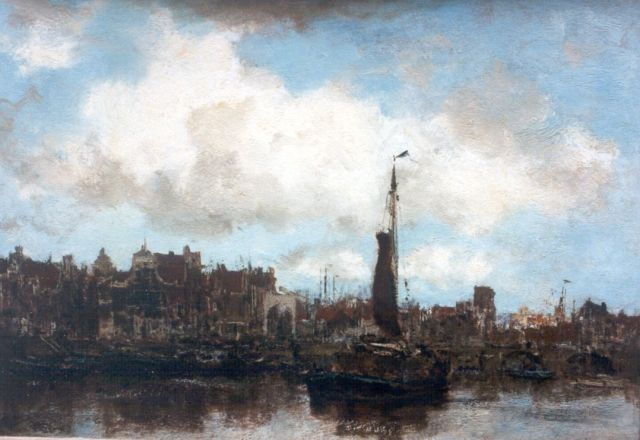 Jacob Maris | Shipping in the harbour of Amsterdam, Öl auf Leinwand, 31,2 x 44,6 cm, signed l.r.