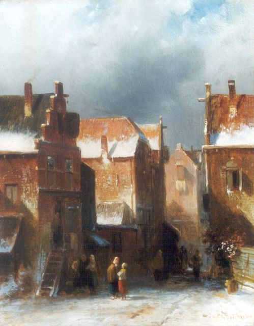 Charles Leickert | Figures in a snow-covered town, Öl auf Tafel, 27,2 x 21,6 cm, signed l.r.