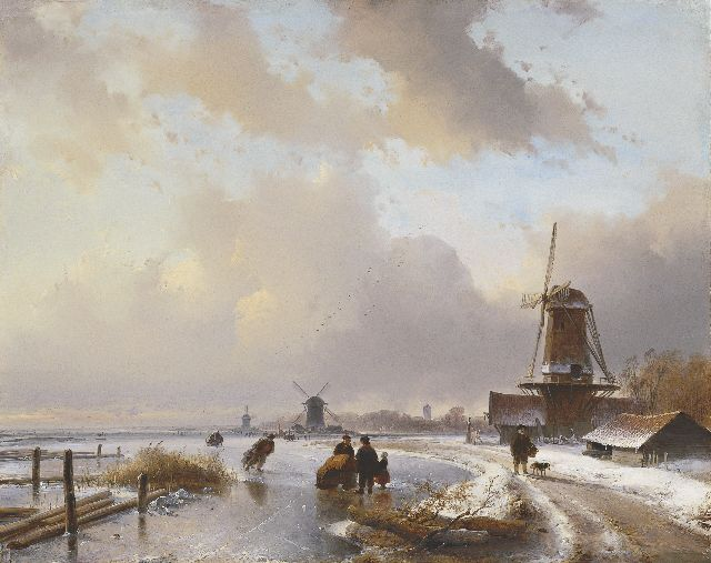 Andreas Schelfhout | Skaters with a sledge on a frozen river, Öl auf Tafel, 40,5 x 50,9 cm, signed l.r. und painted in 1837