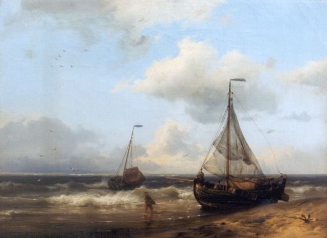Hermanus Koekkoek | A coastal scene with anchored fishing boats, Öl auf Leinwand, 24,0 x 32,4 cm, signed l.r. und dated 1849