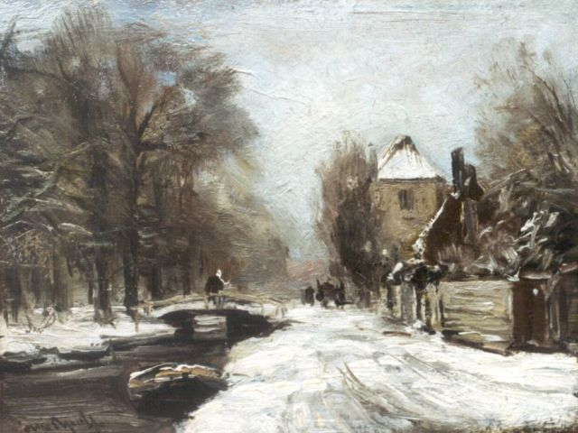 Louis Apol | A traveller on a draw-bridge in winter, Öl auf Malereifaser, 20,0 x 26,3 cm, signed l.l.