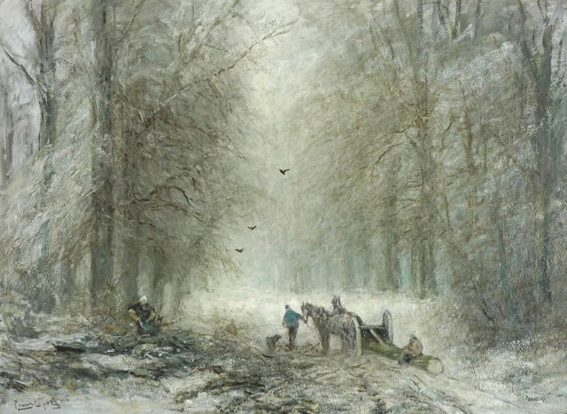 Louis Apol | Timber sled in the forest of The Hague, Öl auf Leinwand, 72,0 x 96,9 cm, signed l.l.