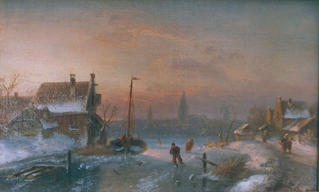 Charles Leickert | Skaters on a frozen waterway, Öl auf Leinwand Malereifaser, 21,2 x 33,3 cm, signed l.r.
